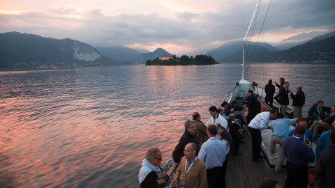 Evening cruise by paddle steamer on lake maggiore
