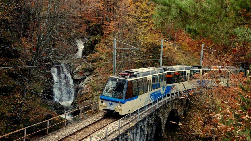 Centovali train in the autumn on Lake Maggiore